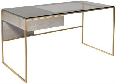 Regents Weathered Oak Desk with Brass Brushed Frame