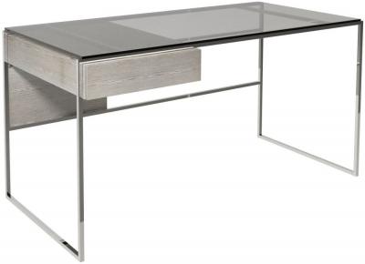 Regents Weathered Oak Desk with Polished Chrome Frame