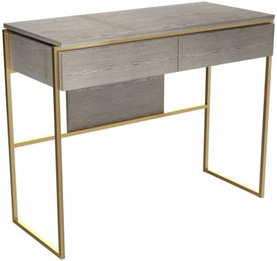 Regents Weathered Oak Dressing Table with Brass Brushed Frame