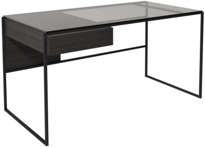 Regents Wenge Desk with Black Metal Frame