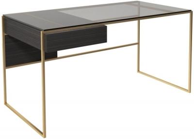 Regents Wenge Oak Desk with Brass Brushed Frame