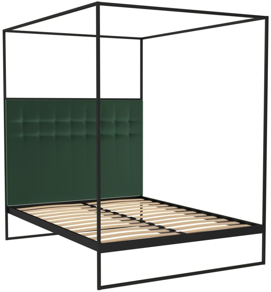 Regents Black Metal Canopy Frame Bed with Deep Green Velvet Upholstered Headboard