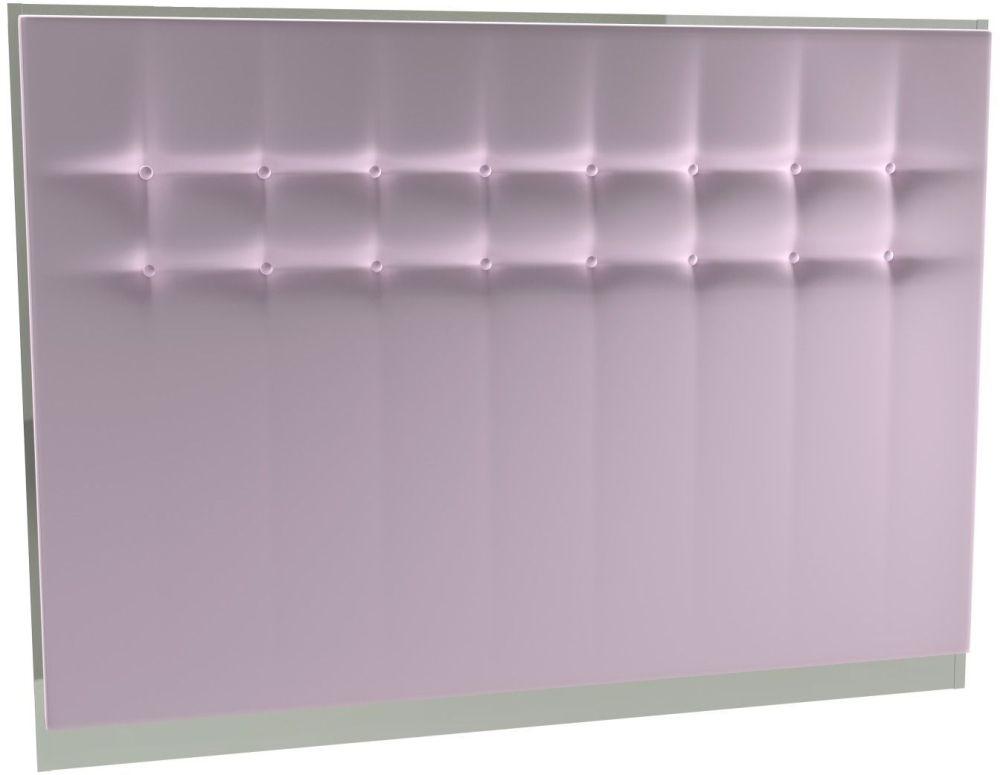 Regents Blush Velvet Upholstered Headboard with Chrome Polished Frame