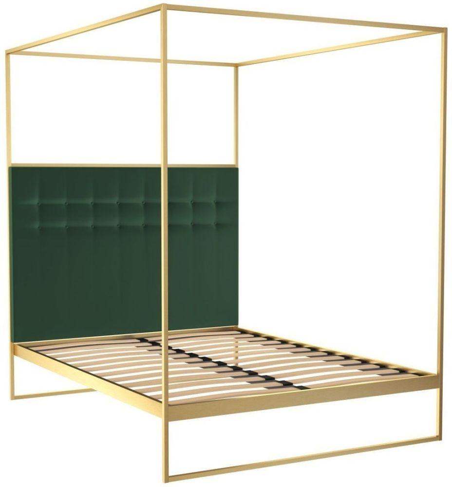 Regents Brass Brushed Canopy Frame Bed with Deep Green Velvet Upholstered Headboard