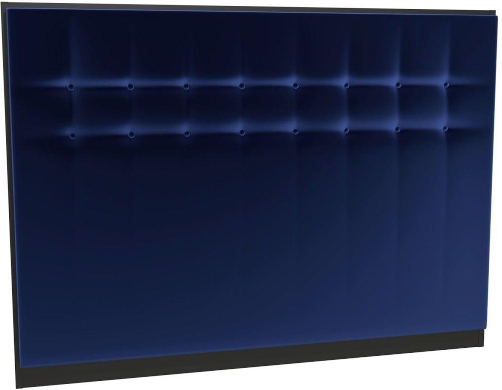 Regents Midnight Blue Velvet Upholstered Headboard with Black Frame
