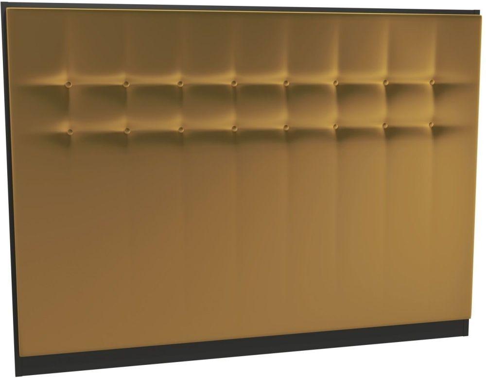 Regents Mustard Velvet Upholstered Headboard with Black Frame
