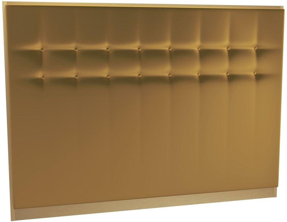 Regents Mustard Velvet Upholstered Headboard with Brass Brushed Frame