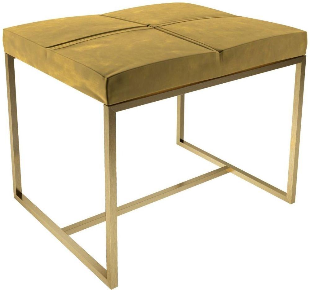 Regents Mustard Velvet Small Upholstered Stool with Brass Brushed Frame