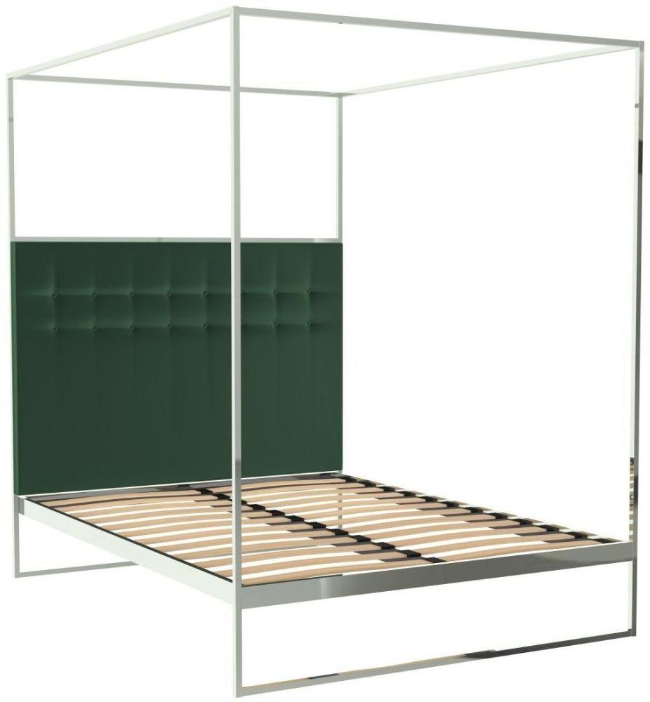 Regents Polished Chrome Canopy Frame Bed with Deep Green Velvet Upholstered Headboard