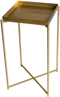 Stockwell Brass Tray Square Plant Stand with Brass Frame