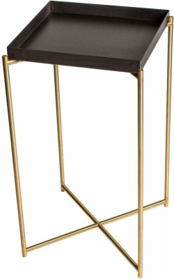 Stockwell Gun Metal Tray Top Square Plant Stand with Brass Frame
