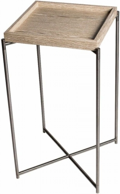 Stockwell Weathered Oak Tray Square Plant Stand with Gun Metal Frame