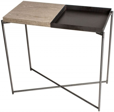 Stockwell Weathered Oak Small Table Console with Gun Metal Tray Top and Frame