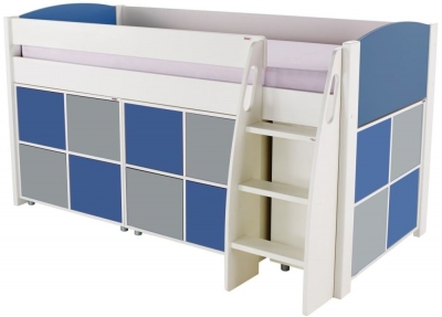 Stompa Blue Mid Sleeper Including 3 Multi Cubes with 2 Blue and 2 Grey Doors In Each Cube