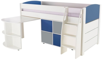 Stompa Blue Mid Sleeper Including Pull Out Desk with 1 Multi Cube and 1 Chest of Drawers