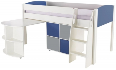 Stompa Blue Mid Sleeper Including Pull Out Desk with 1 Multi Cube and 2 Blue and 2 Grey Doors