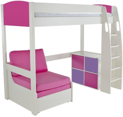 Stompa Pink High Sleeper Including Pink Chair Bed and 1 Cube Unit