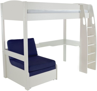 Stompa White High Sleeper Frame Including Desk and Blue Chair Bed