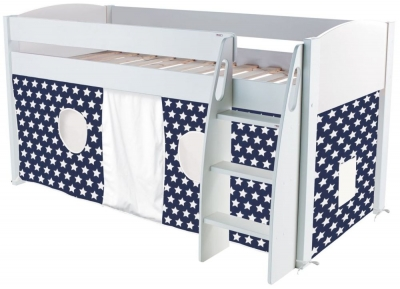 Stompa Mid Sleeper White Frame with Blue Tent Stars