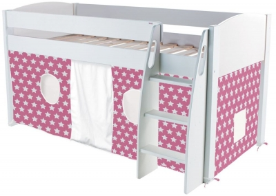 Stompa Mid Sleeper White Frame with Pink Tent Stars