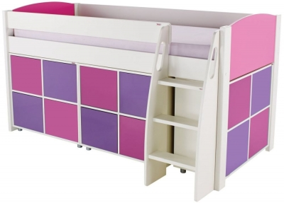Stompa Pink Mid Sleeper Including 3 Multi Cubes with 2 Pink and 2 Purple Doors In Each Cube