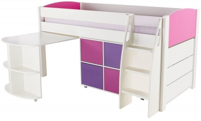 Stompa Pink Mid Sleeper Including Pull Out Desk with 1 Multi Cube with 1 Chest of Drawers