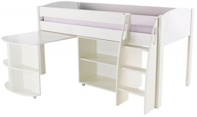 Stompa White Mid Sleeper Including Pull Out Desk and 1 Bookcase without Doors