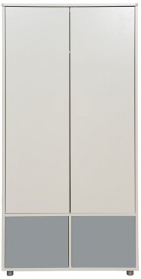 Stompa Tall Wardrobe with Doors - White and Grey