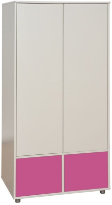 Stompa White Tall Wardrobe with Pink Doors