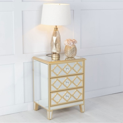Urban Deco Casablanca Mirrored Bedside Cabinet