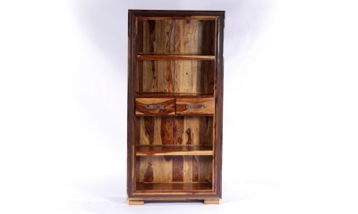 GRANDE Sheesham and Leather Trim 2 Drawers Bookcase