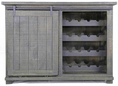 Urban Deco Shabby Chic Dark Distressed 1 Door Sideboard with Wine Rack