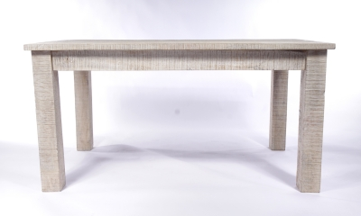 Urban Deco Shabby Chic White Washed Distressed Rectangular Dining Table - 120cm