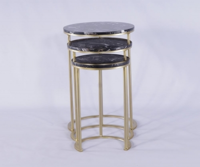 Urban Deco Gold Metal and Black Marble Top Round Nest of 3 Tables