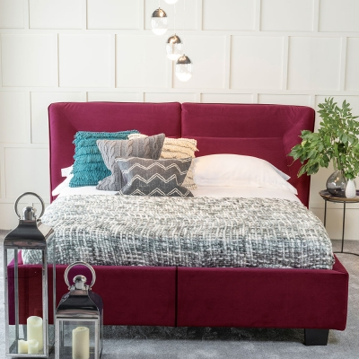 Urban Deco Simba Red Velvet 5ft King Size Bed