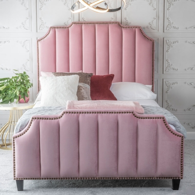 Urban Deco Charlotte Blush Pink Fabric 4ft 6in Double Bed