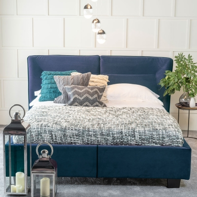 Urban Deco Simba Cobalt Blue Velvet 4ft 6in Double Bed