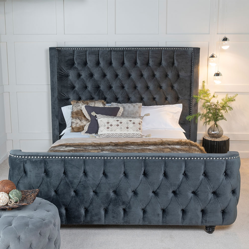Urban Deco Grandee Charcoal Grey Fabric 6ft Queen Size Bed