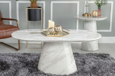 Urban Deco Carrera White Marble Coffee Table