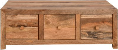 Dakota Indian Mango Wood 6 Drawer Storage Coffee Table - Light