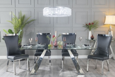 Urban Deco Delta 200cm Glass and Chrome Dining Table and 6 Maison Black Chairs