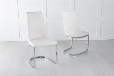 Phoenix Cream Faux Leather Swing Dining Chair with Brushed Metal Base