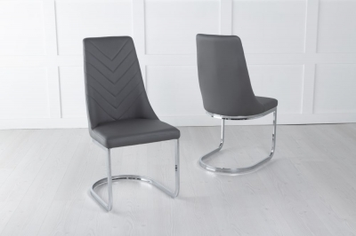 Phoenix Dark Grey Faux Leather Swing Dining Chair with Brushed Metal Base