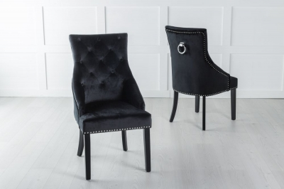 Large Black Velvet Knockerback Ring Dining Chair