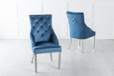 Large Blue Velvet Knockerback Ring Dining Chair with Chrome Legs