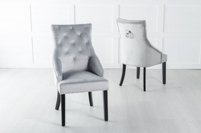 Large Light Grey Velvet Knockerback Ring Dining Chair
