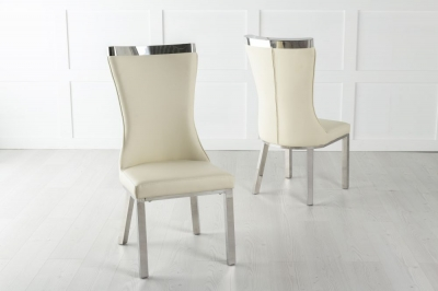 Maison White Faux Leather Dining Chair with Chrome Legs