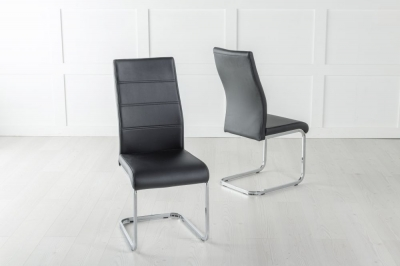 Malibu Black Faux Leather Dining Chair with Brushed Metal Base