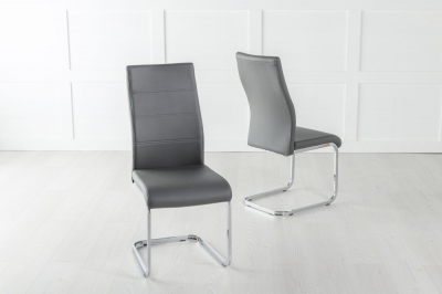 Malibu Dark Grey Faux Leather Dining Chair with Brushed Metal Base
