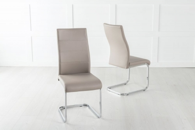 Malibu Taupe Faux Leather Dining Chair with Brushed Metal Base